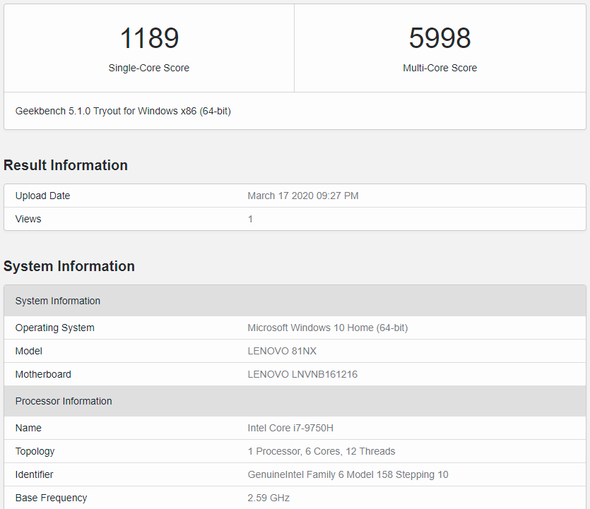 Geekbench 5.1.0
